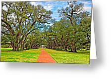 Oak Alley 3 Oil Greeting Card by Steve Harrington