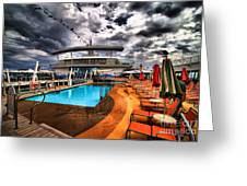Oasis If The Seas Pool Deck - Hdr Greeting Card by Amy Cicconi