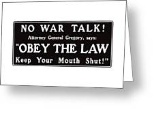 Obey The Law Keep Your Mouth Shut Greeting Card by War Is Hell Store