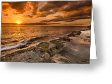 Ocean And Sunset Greeting Card by Tin Lung Chao