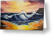 Ocean Sunset Greeting Card by C Steele