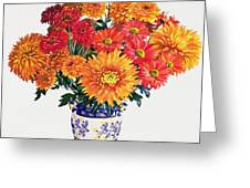 October Chrysanthemums Greeting Card by Christopher Ryland