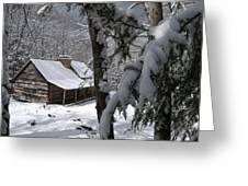 Ogle Farm Sleep Felt Snow Greeting Card by John Saunders