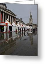 Oh So London - Rain Puddles And Reflections Greeting Card by Georgia Mizuleva