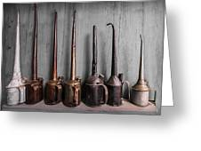 Oil Can Collection Greeting Card by Debra and Dave Vanderlaan