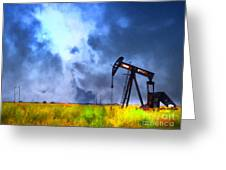 Oil Pump Field Greeting Card by Wingsdomain Art and Photography