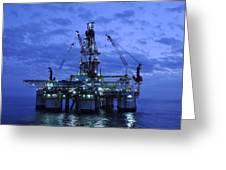 oil rig at twilight Greeting Card by Bradford Martin