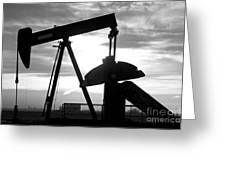 Oil Well Pump Jack Black And White Greeting Card by James BO  Insogna
