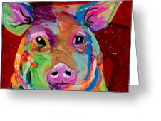 Oink Greeting Card by Tracy Miller