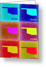 Oklahoma Pop Art Map 2 Greeting Card by Naxart Studio