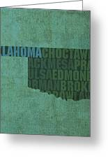 Oklahoma Word Art State Map On Canvas Greeting Card by Design Turnpike