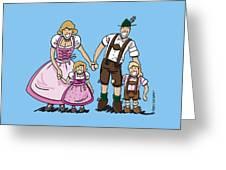 Oktoberfest Family Dirndl And Lederhosen Greeting Card by Frank Ramspott
