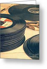 Old 45s Greeting Card by Edward Fielding