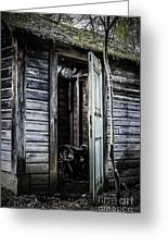 Old Abandoned Well House With Door Ajar Greeting Card by Edward Fielding