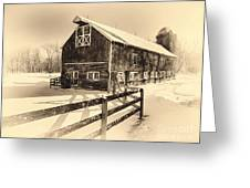 Old American Barn On Snow Covered Land Greeting Card by George Oze