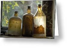 Old And Dusty Glass Bottles Greeting Card by Matthias Hauser