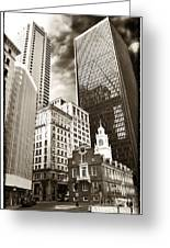 Old And New In Boston Greeting Card by John Rizzuto