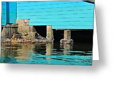 Old Aqua Boat Shed With Aqua Reflections Greeting Card by Kaye Menner