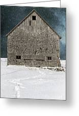 Old Barn In A Snow Storm Greeting Card by Edward Fielding