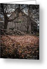 Old Barn In Autumn Greeting Card by Edward Fielding