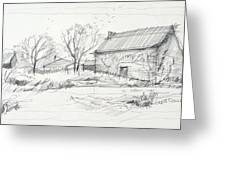 Old Barn Sketch Greeting Card by Peut Etre