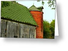 Old Barn with Brick Silo II Greeting Card by Julie Dant