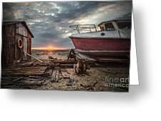 Old Boat At Sunset Greeting Card by Ivor Toms
