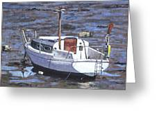 Old Boat On River Mudflats 1 Greeting Card by Martin Davey