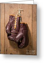 Old Boxing Gloves Greeting Card by Danny Smythe