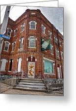 Old Brick Building In Downtown Montezuma Iowa - 01 Greeting Card by Gregory Dyer