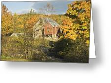 OLd Buildings and Fall Colors in Vienna Maine Greeting Card by Keith Webber Jr