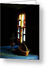 Old Cabin Table With Lamp And Basket Greeting Card by Julie Dant