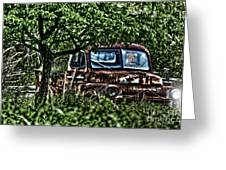 Old Car With Ghost Driver Greeting Card by Dan Friend