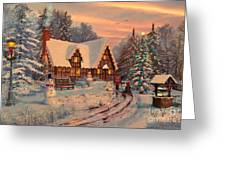 Old Christmas Cottage Greeting Card by Dominic Davison