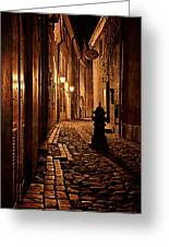 Old City Street In The Night Greeting Card by Gynt