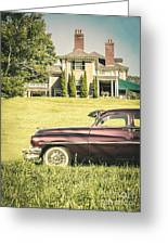 1951 Mercury Sedan In Front Of Large Mansion Greeting Card by Edward Fielding
