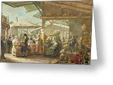 Old Covent Garden Market Greeting Card by George the Elder Scharf