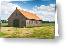 Old Dutch Barn Of Brick Masonry With An Orange Tile Roof Greeting Card by Ruud Morijn