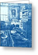 Old Fashioned Kitchen In Blue Greeting Card by Kendall Kessler