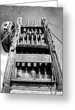 Old Gold Mine Technology In Black And White Greeting Card by Lee Craig