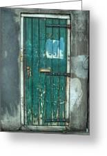 Old Green Door In Quarter Greeting Card by Brenda Bryant