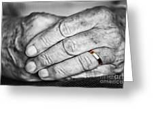Old Hands With Wedding Band Greeting Card by Elena Elisseeva
