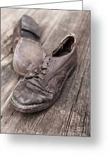 Old Leather Shoes On Wooden Floor Greeting Card by Edward Fielding