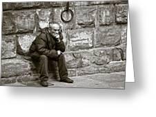 Old Man Pondering Greeting Card by Susan Schmitz