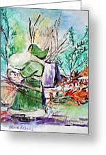 Old Man Winter Greeting Card by Helena Bebirian