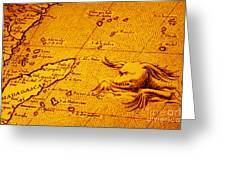 Old Map Of Africa Madagascar With Sea Monster Greeting Card by Colin and Linda McKie