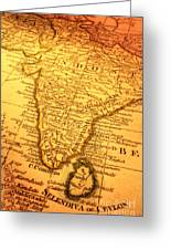 Old Map Of India And Sri Lanka Greeting Card by Colin and Linda McKie