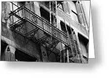 Old Metal Fire Escape Staircase On Side Of Building Greenwich Village New York City Greeting Card by Joe Fox