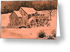 Old Mill In Snow Greeting Card by Judy Sprague