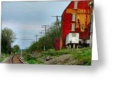 Old Mill on the Tracks Greeting Card by Julie Dant